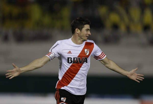 Lucas Alario of Argentina's River Plate celebrates after scoring against Paraguay's Guarani during a Copa Libertadores semifinal soccer game in Asuncion, Paraguay, Tuesday, July 21, 2015. (AP Photo/Jorge Saenz)