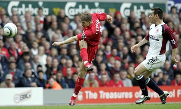 Liverpool's Steven Gerrard fires home his sides equaliser vs Middlesbrough, 2005, Anfield (PA Images)