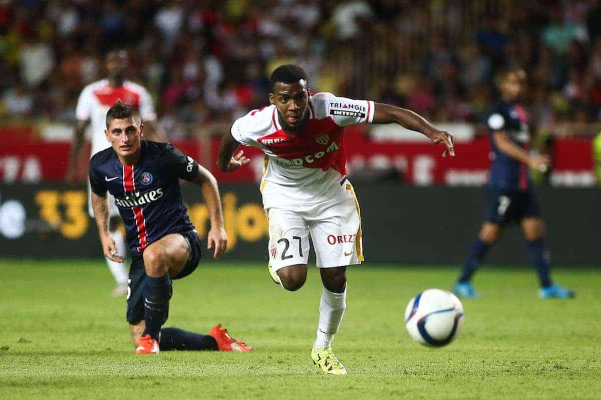 Thomas Lemar / Marco Verratti - 30.08.2015 - Monaco / PSG - 4eme journee de Ligue 1 Photo : Serge Haouzi / Icon Sport