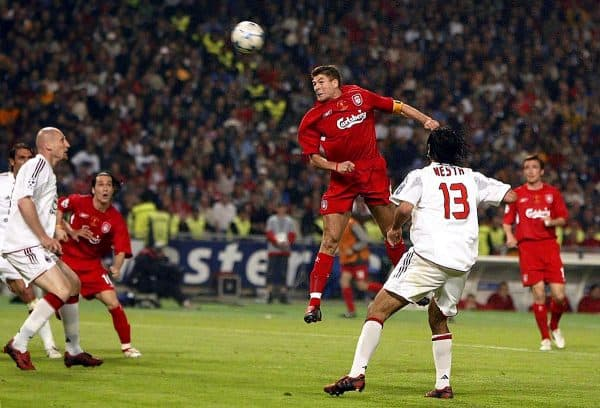 Liverpool's Steven Gerrard scores Liverpool's first goal, Istanbul, 2005 Final (Rebecca Naden/PA Archive/PA Images)