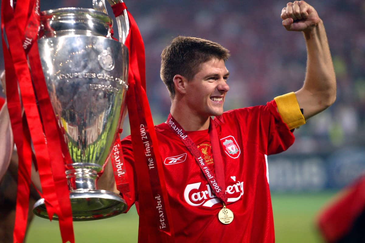 Liverpool's Steven Gerrard celebrates victory with The UEFA Champions League Trophy, Istanbul 2005 (PA Images)
