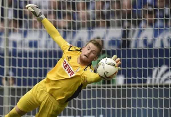 Cologne's goalkeeper Timo Horn catches a free kick during the German Bundesliga soccer match between FC Schalke 04 and 1.FC Cologne in Gelsenkirchen, Germany, Sunday, Oct. 4, 2015. (AP Photo/Martin Meissner)