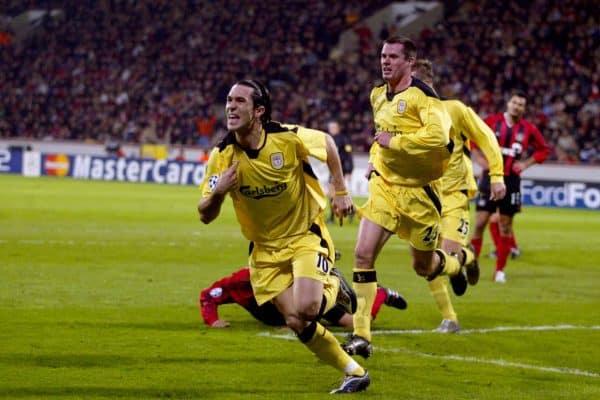 Liverpool's Luis Garcia celebrates scoring. Bayer Leverkusen, 2005 (Gareth Copley/PA Archive/PA Images)