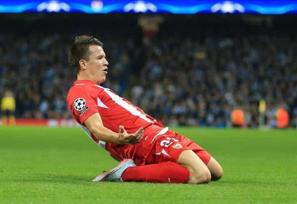 Sevilla's Yevhen Konoplyanka celebrates scoring his side's first goal of the game against Manchester City.