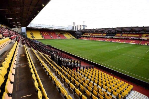 """A general view of Vicarage Road during the Barclays Premier League match at Vicarage Road, Watford. PRESS ASSOCIATION Photo. Picture date: Saturday November 21, 2015. See PA story SOCCER Watford. Photo credit should read: Andrew Matthews/PA Wire. RESTRICTIONS: EDITORIAL USE ONLY No use with unauthorised audio, video, data, fixture lists, club/league logos or """"live"""" services. Online in-match use limited to 75 images, no video emulation. No use in betting, games or single club/league/player publications."""