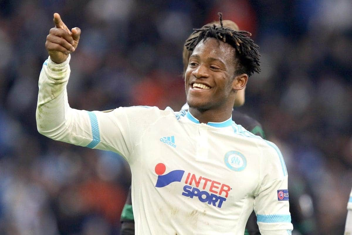 Marseille's Belgian forward Michy Batshuayi, reacts after scoring against Groningen, during a group F Europa League soccer match between Marseille and Groningen, at the Velodrome stadium, in Marseille, southern France, Thursday, Nov.26, 2015. (AP Photo/Claude Paris)