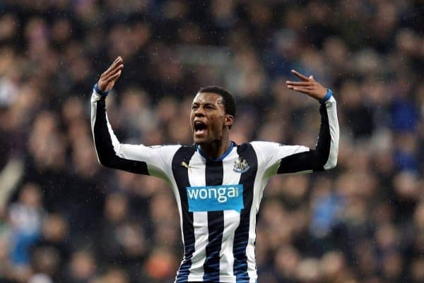 Newcastle United's Georginio Wijnaldum celebrates his goal during the English Premier League soccer match between Newcastle United and Manchester United at St James' Park, Newcastle, England, Tuesday, Jan. 12, 2015. (AP Photo/Scott Heppell)