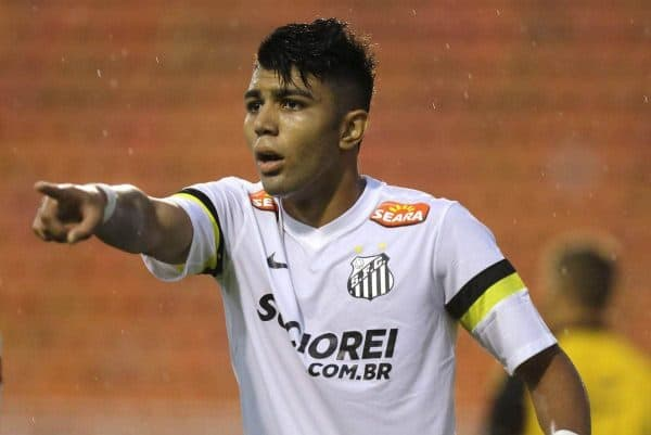 "In this Jan. 21, 2014 photo, Santos' Gabriel Barbosa reacts during a Campeonato Paulista soccer game at Pacaembu stadium, in Sao Paulo, Brazil. Santos striker Gabriel Barbosa doesn't like the comparison, but Brazilians see him as the next Neymar. How's that for pressure? The 19-year-old Barbosa, who is known universally as ""Gabigol,"" is ranked as Brazil's most promising player. (AP Photo/Nelson Antoine)"