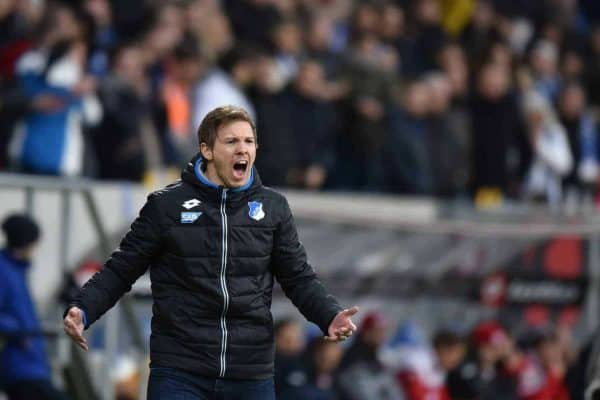 Hoffenheim's coach Julian Nagelsmann during the Bundesliga soccer match between TSG 1899 Hoffenheim and 1. FSV Mainz 05 at Rhein-Neckar-Arena in Sinsheim, Germany, 20 February 2016. Photo: Uwe Anspach/dpa