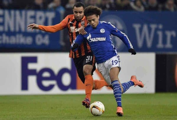 Donetsk's Ismally, left, and Schalke's Leroy Sane challenge for the ball during the Europa League round of 32 second leg soccer match between FC Schalke 04 and Shakhtar Donetsk in Gelsenkirchen, Germany, Thursday, Feb. 25, 2016. (AP Photo/Martin Meissner)