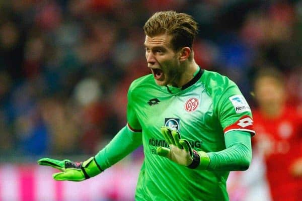 Mainz's goalkeeper Loris Karius gestures during the German Bundesliga soccer match between FC Bayern Munich and FSV Mainz 05 at the Allianz Arena stadium in Munich, Germany, Wednesday, March 2, 2016. (AP Photo/Matthias Schrader)
