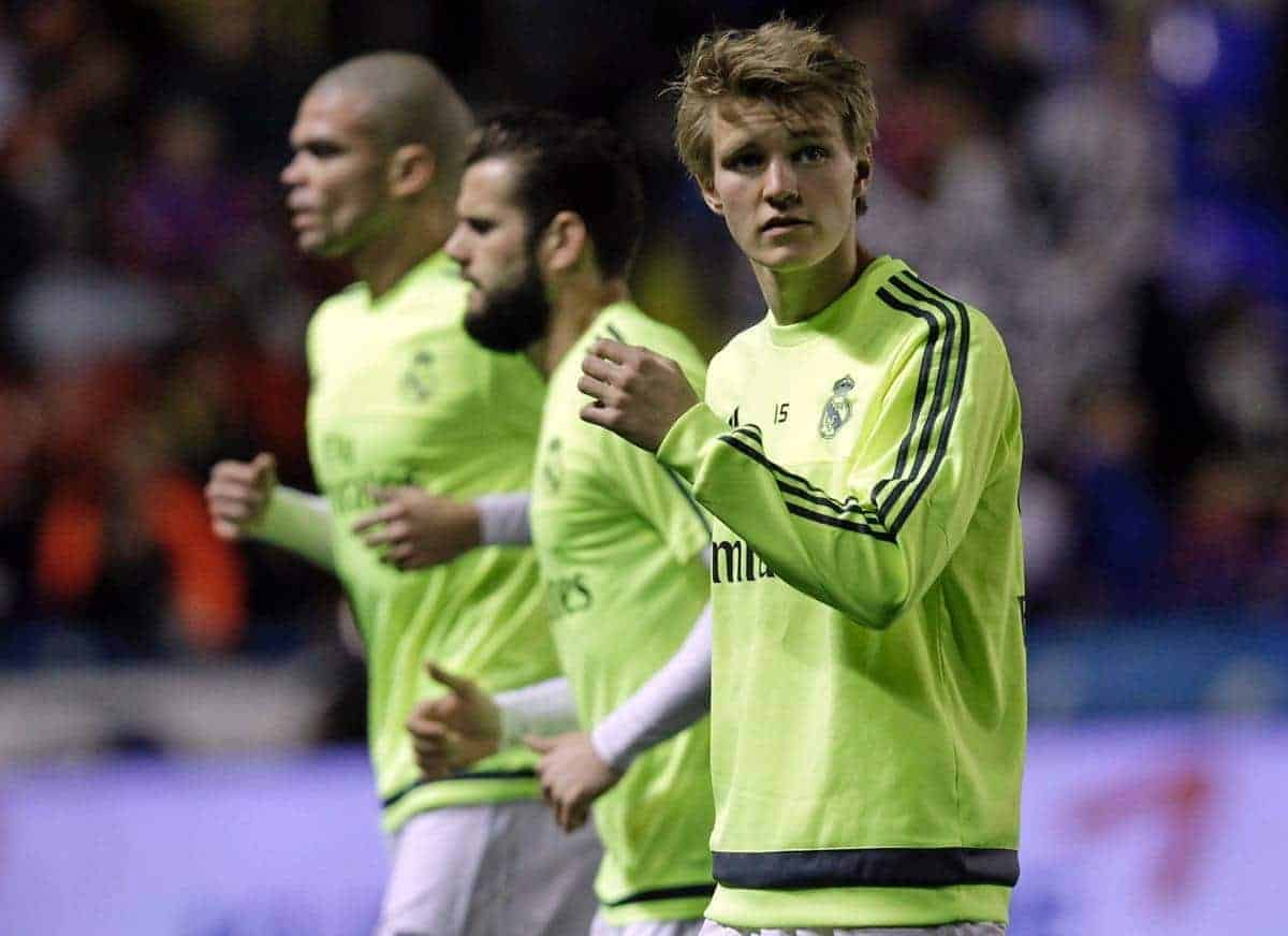 Real Madrid's Martin Odegaard warms up before the Spanish La Liga soccer match between Real Madrid and Levante at the Ciutat de Valencia stadium in Valencia, Spain, Wednesday, March 2, 2016. (AP Photo/Alberto Saiz)