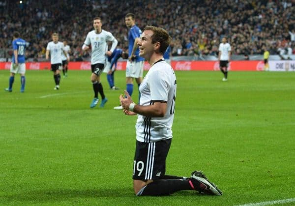 Germany's Mario Goetze celebrates after scoring his side's second goal during a friendly soccer match between Germany and Italy at the Allianz Arena in Munich, southern Germany, Tuesday, March 29, 2016. (AP Photo/Kerstin Joensson)