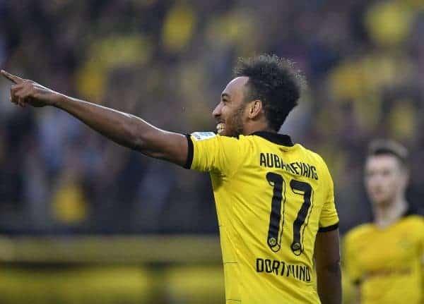 Dortmund's Pierre-Emerick Aubameyang celebrates after scoring during the German Bundesliga soccer match between Borussia Dortmund and Werder Bremen in Dortmund, Germany, Saturday, April 2, 2016. (AP Photo/Martin Meissner)