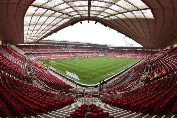 A general view of the Riverside stadium before the game