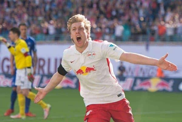 Leipzig's Emil Forsberg celebrates after scoring a goal during the German second division Bundesliga soccer match between RB Leipzig and Karlsruhe SC at the Red Bull Arena soccer stadium in Leipzig, Germany, Sunday, May 8, 2016. RB Leipzig can clinch the promotion to the German first division Bundesliga after this match. (AP Photo/Jens Meyer)