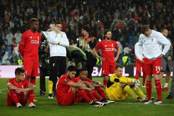Liverpool players look dejected after the UEFA Europa League Final at St. Jakob-Park, Basel, Switzerland vs Sevilla. (May 2016) (Picture by David Davies PA Archive/PA Images)