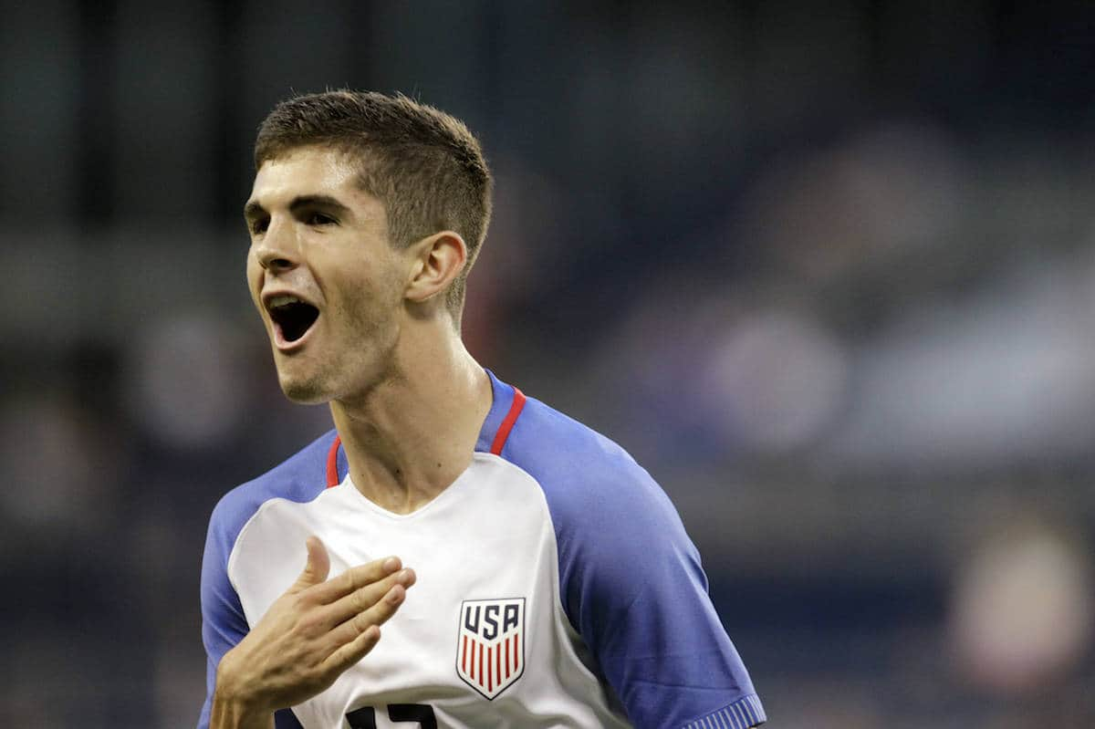 U.S. forward Christian Pulisic reacts after scoring against Bolivia during the second half of an international friendly soccer match, Saturday, May. 28, 2016, in Kansas City, Kan. (AP Photo/Colin E. Braley)