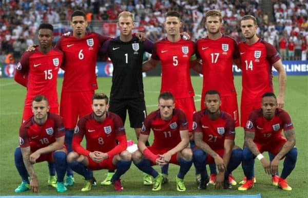 England Team Group. (Top L - R) England's Daniel Sturridge, Chris Smalling, Joe Hart, Gary Cahill, Eric Dier and Jordan Henderson. (Bottom L - R) Jack Wilshere, Adam Lallana, Jamie Vardy, Ryan Bertrand and Nathaniel Clyne during the UEFA Euro 2016, Group B match at the Stade Geoffroy Guichard, Saint-Etienne. (Picture by: Nick Potts / PA Wire/Press Association Images)