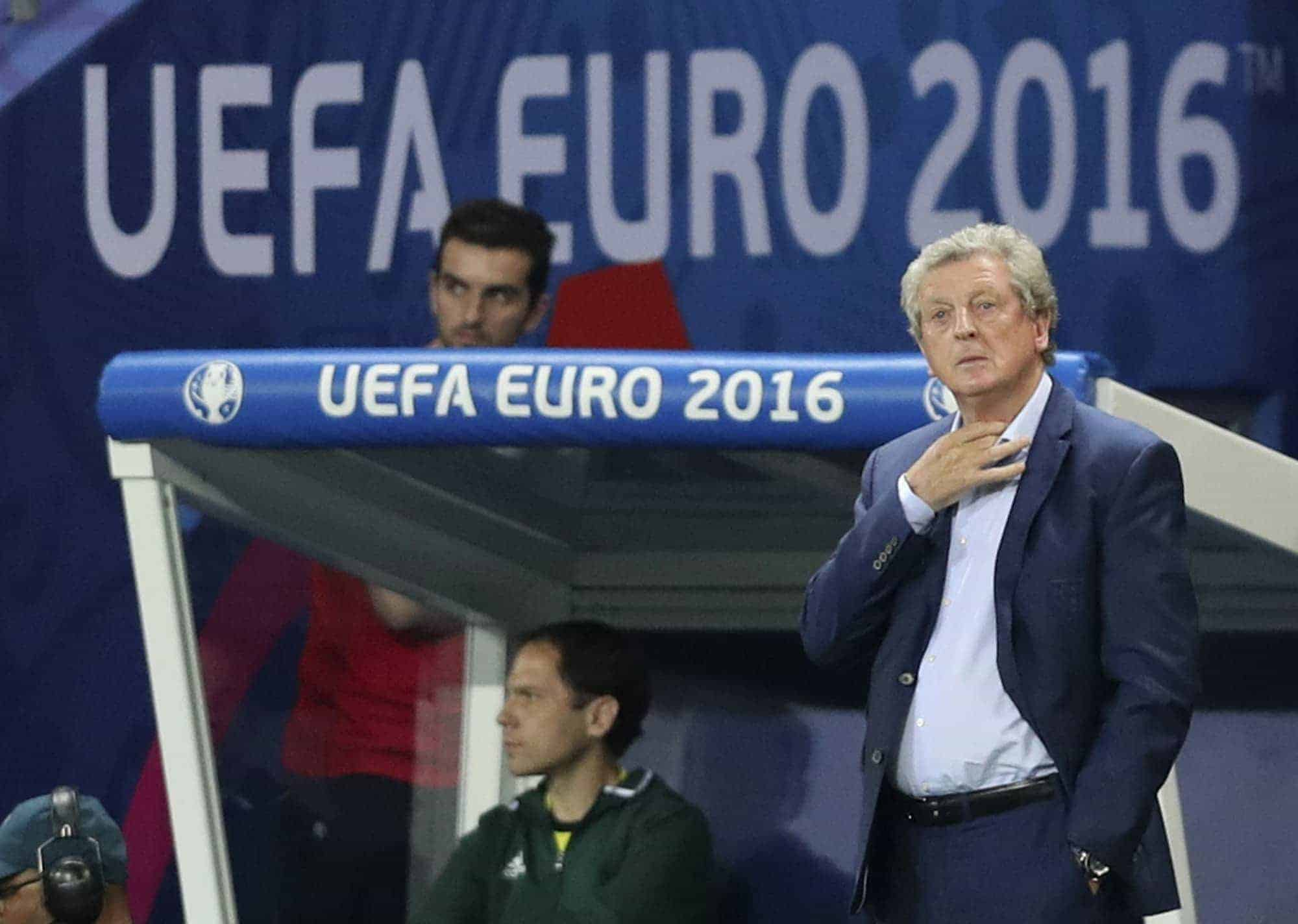 England coach Roy Hodgson stands on the sidelines during the Euro 2016 round of 16 soccer match between England and Iceland, at the Allianz Riviera stadium in Nice, France, Monday, June 27, 2016. (AP Photo/Claude Paris)