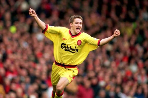 Liverpool's Michael Owen celebrates scoring the equalising goal, Old Trafford 1998 ( Mike Egerton/EMPICS Sport)