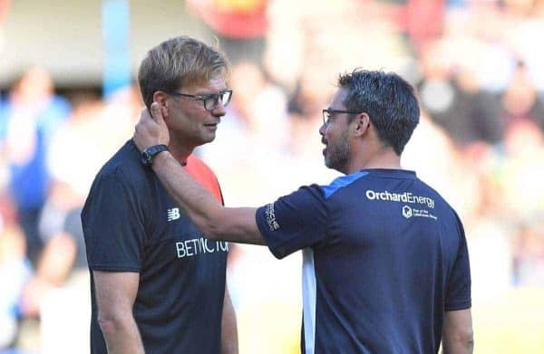 "Liverpool's Manager Jurgen Klopp and Huddersfield Town's Manager David Wagner greet each other before the pre-season friendly match at John Smith's Stadium, Huddersfield. PRESS ASSOCIATION Photo. Picture date: Wednesday July 20, 2016. See PA story SOCCER Huddersfield. Photo credit should read: Dave Howarth/PA Wire. RESTRICTIONS: EDITORIAL USE ONLY No use with unauthorised audio, video, data, fixture lists, club/league logos or ""live"" services. Online in-match use limited to 75 images, no video emulation. No use in betting, games or single club/league/player publications."