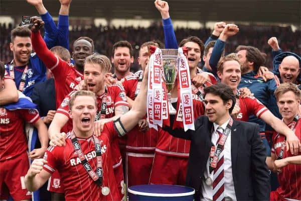 Middlesbrough Grant Leadbetter lifts the cup with Aitor Karanka as they celebrate returning to the Premier League RESS ASSOCIATION Photo. Issue date: Friday July 22, 2016. For promoted trio Burnley, Middlesbrough and Hull, the primary aim is simply to remain in the Premier League.