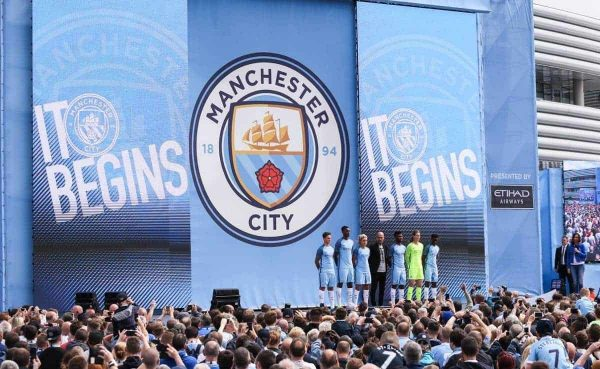Manchester City manager Pep Guardiola is unveiled to fans at the Etihad Stadium, Manchester
