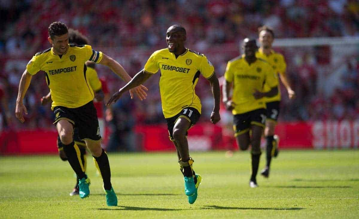 "Burton Albion's Lloyd Dyer (right) celebrates scoring his team's second goal during the Sky Bet Championship match at the City Ground, Nottingham. PRESS ASSOCIATION Photo. Picture date: Saturday August 6, 2016. See PA story SOCCER Forest. Photo credit should read: Jon Buckle/PA Wire. RESTRICTIONS: EDITORIAL USE ONLY No use with unauthorised audio, video, data, fixture lists, club/league logos or ""live"" services. Online in-match use limited to 75 images, no video emulation. No use in betting, games or single club/league/player publications."