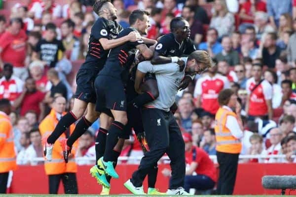 Liverpool's Sadio Mane celebrates scoring his sides fourth goal with Jurgen Klopp during the Premier League match at the Emirates Stadium, London. Picture date August 14th, 2016 Pic David Klein/Sportimage via PA Images