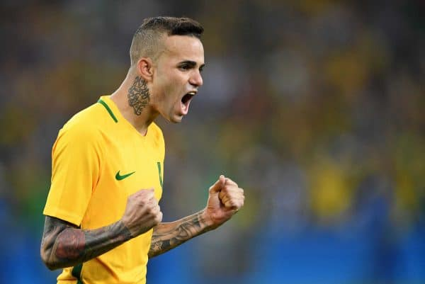 Luan reacts after converting the second penalty of the penalty shoot-out during the Men's soccer Gold Medal Match between Brazil and Germany during the Rio 2016 Olympic Games at the Maracana in Rio de Janeiro, Brazil, 20 August 2016. Photo: Soeren Stache/dpa