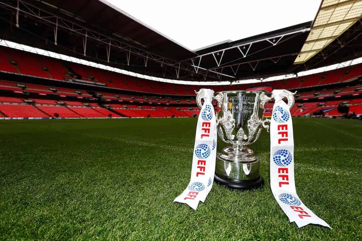 A view of the EFL Cup, pictured at Wembley Stadium