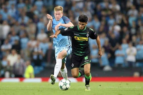 Manchester City's Kevin De Bruyne and Borussia Monchengladbach's Mahmoud Dahoud battle for the ball during the Champions League match at the Etihad Stadium, Manchester. PRESS ASSOCIATION Photo. Picture date: Wednesday September 14, 2016. See PA story SOCCER Man City. Photo credit should read: Martin Rickett/PA Wire