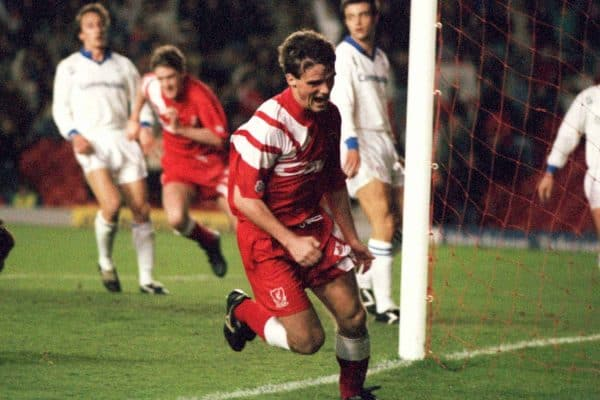 Liverpool's Mike Marsh scores the second goal