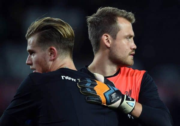 Liverpool goalkeepers Loris Karius (left) and Simon Mignolet (right) before the EFL Cup, Third Round match at the iPro Stadium, Derby. (Photo: Joe Giddens/PA Wire.)