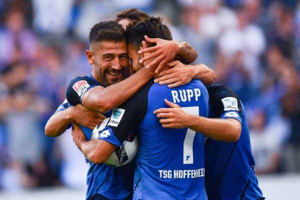 Hoffenheim's Lukas Rupp (r) celebrates his 2:1 goal with Kerem Demirbay during the Bundesliga soccer match between 1899 Hoffenheim and FC Schalke 04 at Rhein-Neckar-Arena in Sinsheim, Germany, 25 September 2016. PHOTO: UWE ANSPACH/dpa (EMBARGO CONDITIONS - ATTENTION: Due to the accreditation guidlines, the DFL only permits the publication and utilisation of up to 15 pictures per match on the internet and in online media during the match.)