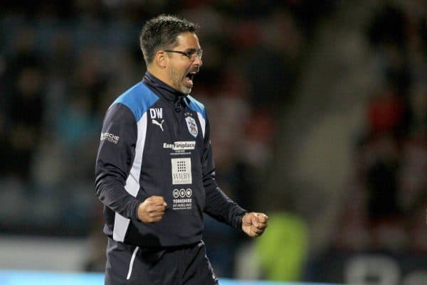 "Huddersfield Town manager David Wagner celebrates victory after the Sky Bet Championship match at the John Smith's Stadium, Huddersfield. PRESS ASSOCIATION Photo. Picture date: Tuesday September 27, 2016. See PA story SOCCER Huddersfield. Photo credit should read: Richard Sellers/PA Wire. RESTRICTIONS: EDITORIAL USE ONLY No use with unauthorised audio, video, data, fixture lists, club/league logos or ""live"" services. Online in-match use limited to 75 images, no video emulation. No use in betting, games or single club/league/player publications."