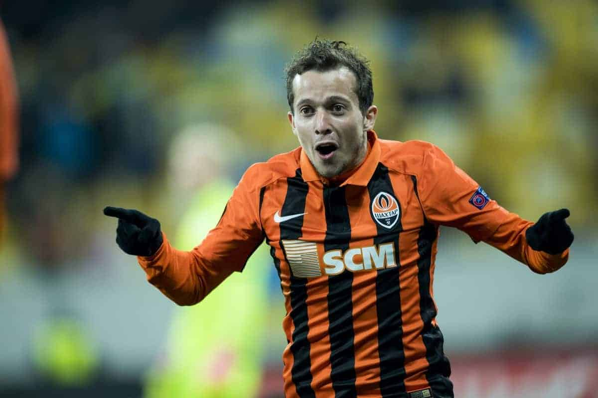Shakhtar Donetsk's midfielder Bernard celebrates after scoring during a third game of the group stage (group H) of the Europa League competition between Ukraine club Shaktar Donetsk and Belgian soccer team KAA Gent, Thursday 20 October 2016, in Lviv, Ukraine. BELGA PHOTO JASPER JACOBS
