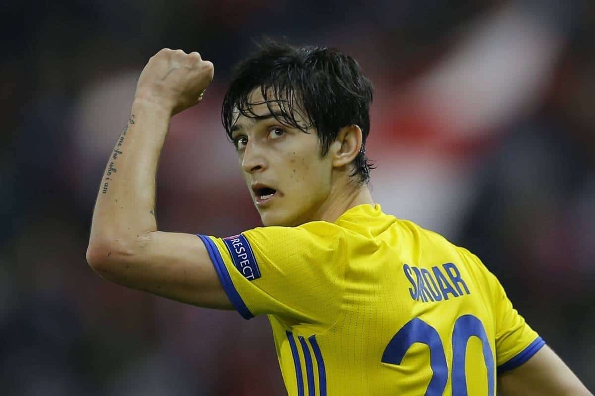 Rostov's Sardar Azmoun celebrates scoring his side's 1st goal during the Champions League Group D soccer match between Atletico Madrid and Rostov at the Vicente Calderon stadium in Madrid, Spain, Tuesday Nov. 1, 2016. (AP Photo/Francisco Seco)