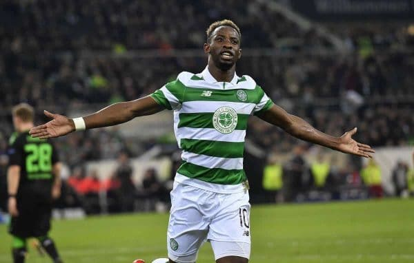 Celtic's Moussa Dembele celebrates after scoring a penalty during the Champions League group C soccer match between Borussia Moenchengladbach and Celtic FC in Moenchengladbach, Germany, Tuesday, Nov. 1, 2016. (AP Photo/Martin Meissner)