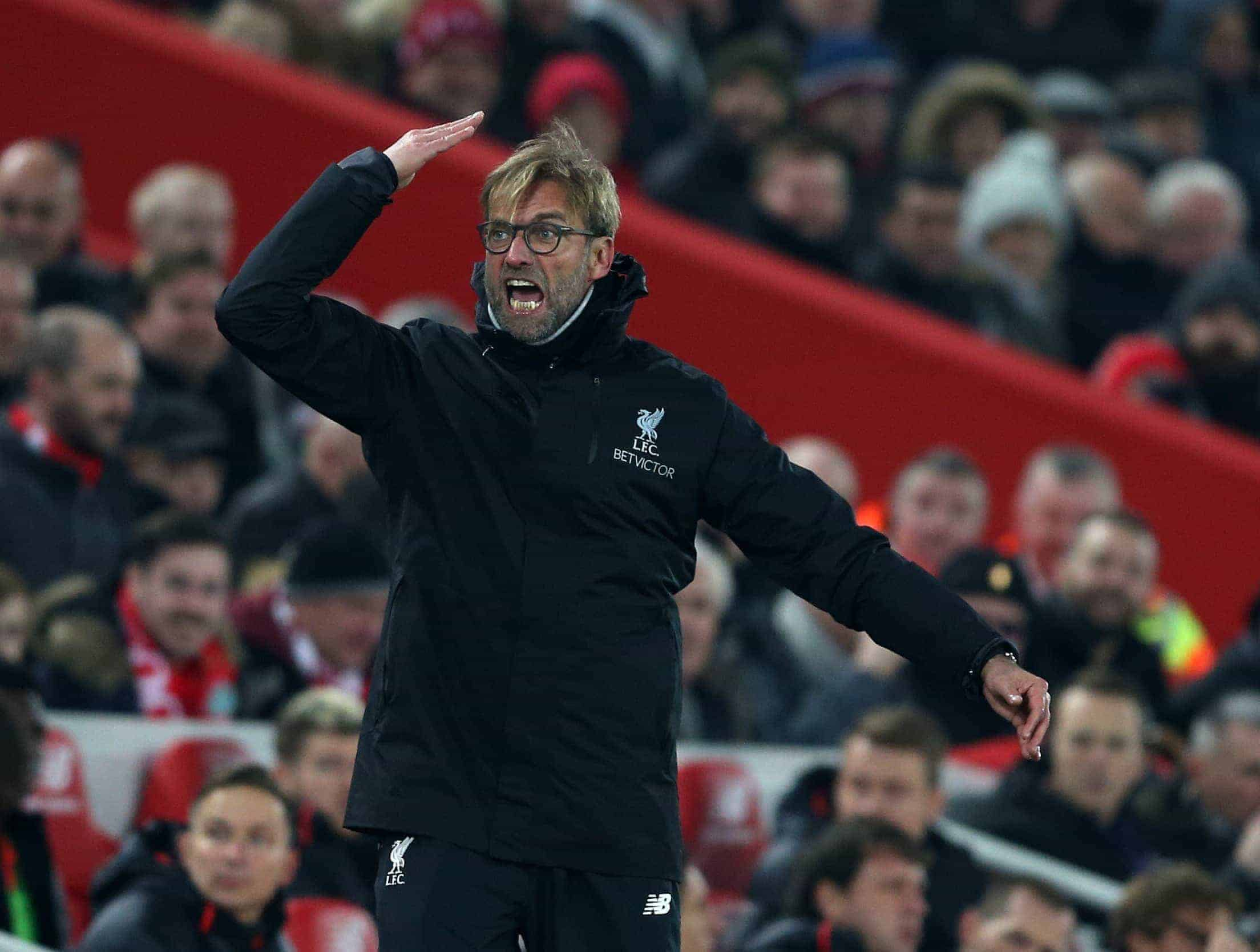 Jurgen Klopp manager of Liverpool tries to fire up the crowd during the Premier League match at the Anfield Stadium, Liverpool. Picture date: November 26th, 2016. Pic Simon Bellis/Sportimage via PA Images
