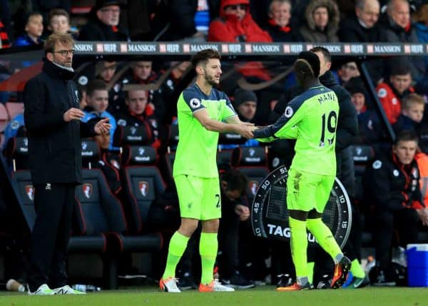 Liverpool's Adam Lallana (centre) is substituted on for Liverpool's Sadio Mane (right) by Liverpool manager Jurgen Klopp (left) during the Premier League match at the Vitality Stadium, Bournemouth. 2016. (Picture by Adam Davy PA Wire/PA Images)