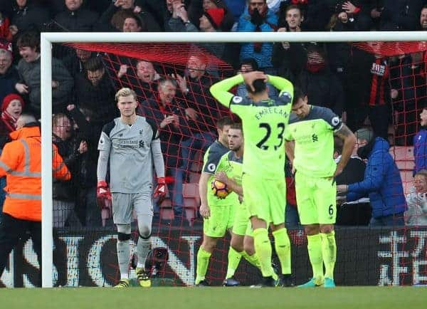 Liverpool's Loris Karius looks on dejected after his mistake gives Bournemouth's their fourth goal during the Premier League match at the Vitality Stadium, London. Picture date December 4th, 2016 Pic David Klein/Sportimage via PA Images