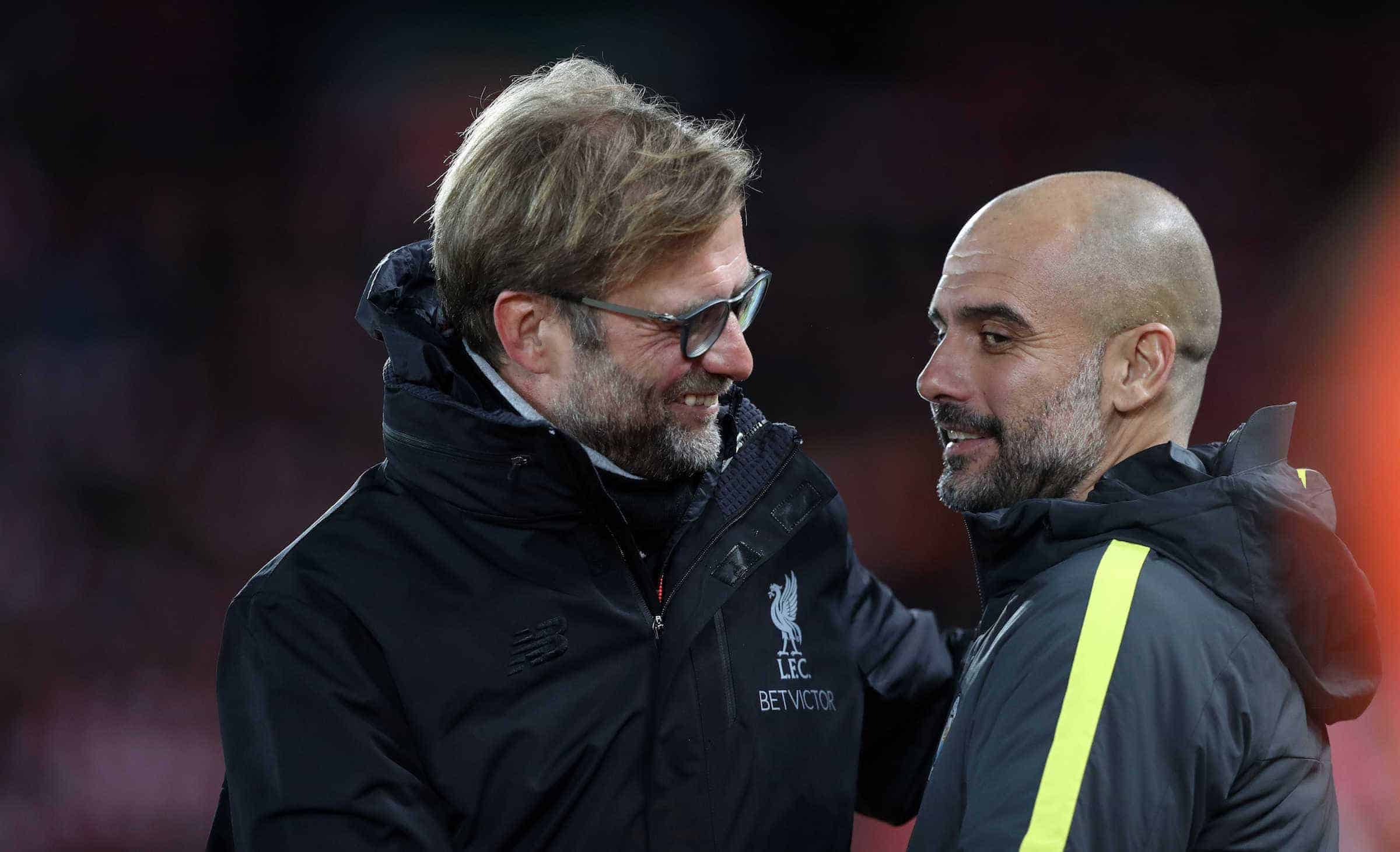 Jurgen Klopp manager of Liverpool and Manchester City Manager Pep Guardiola before the English Premier League match at Anfield Stadium, Liverpool. Picture date: December 31st, 2016. Photo: Cameron/Sportimage via PA Images