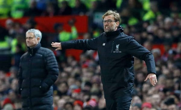 Liverpool manager Jurgen Klopp (right) and Manchester United manager Jose Mourinho on the touchline during the Premier League match at Old Trafford, Manchester.