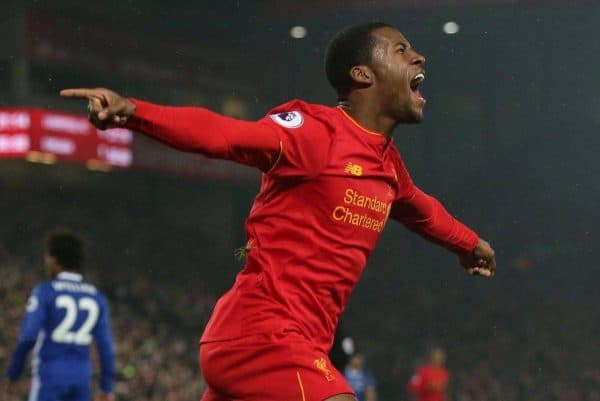 Georginio Wijnaldum of Liverpool (r) celebrates the equalising goal during the English Premier League match at Anfield Stadium, Liverpool. Picture date: January 31st, 2017. Pic Simon Bellis/Sportimage via PA Images