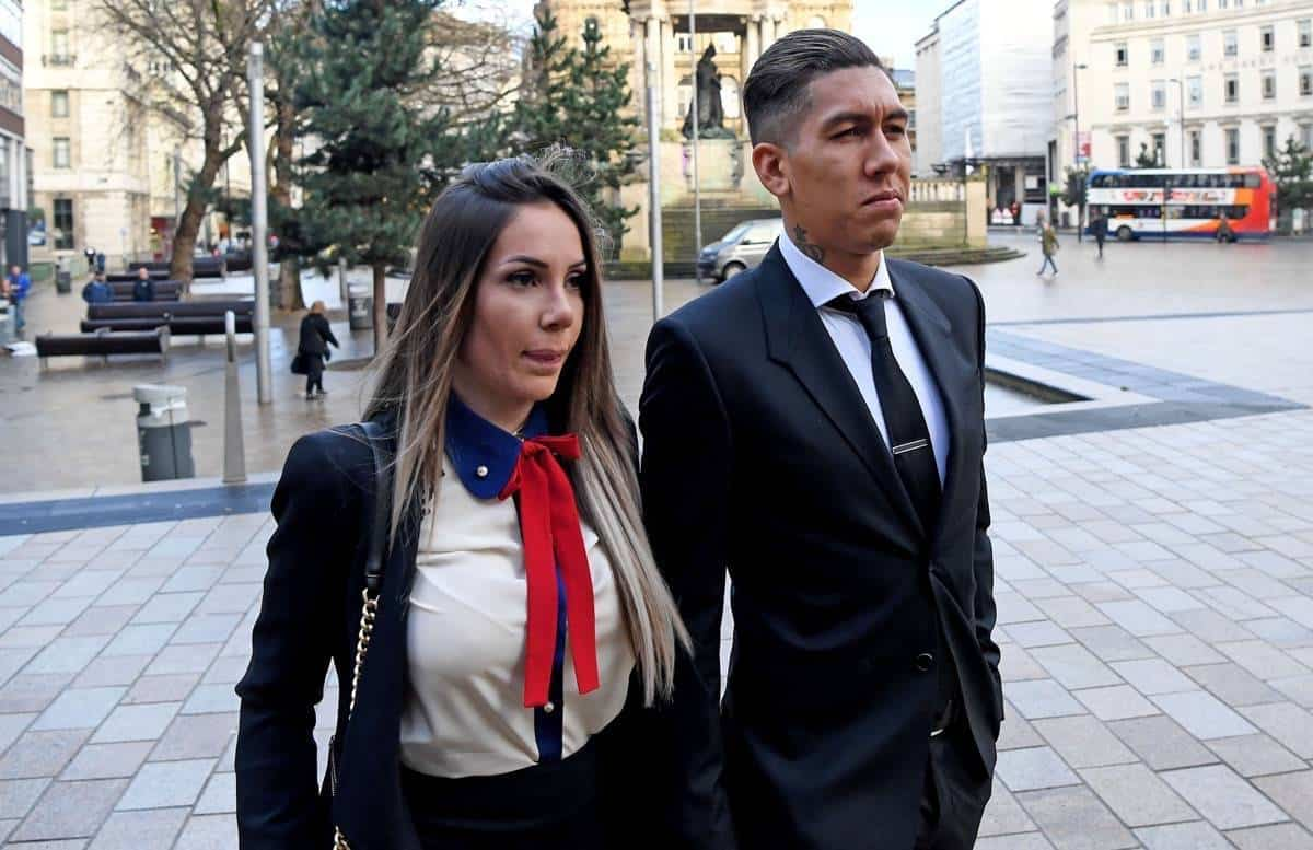 Footballer Roberto Firmino arriving at Liverpool City Magistrates Court with his wife Larissa Pereira where he is charged with drink driving, after he was stopped by police in Liverpool city centre in the early hours of Saturday, December 24.