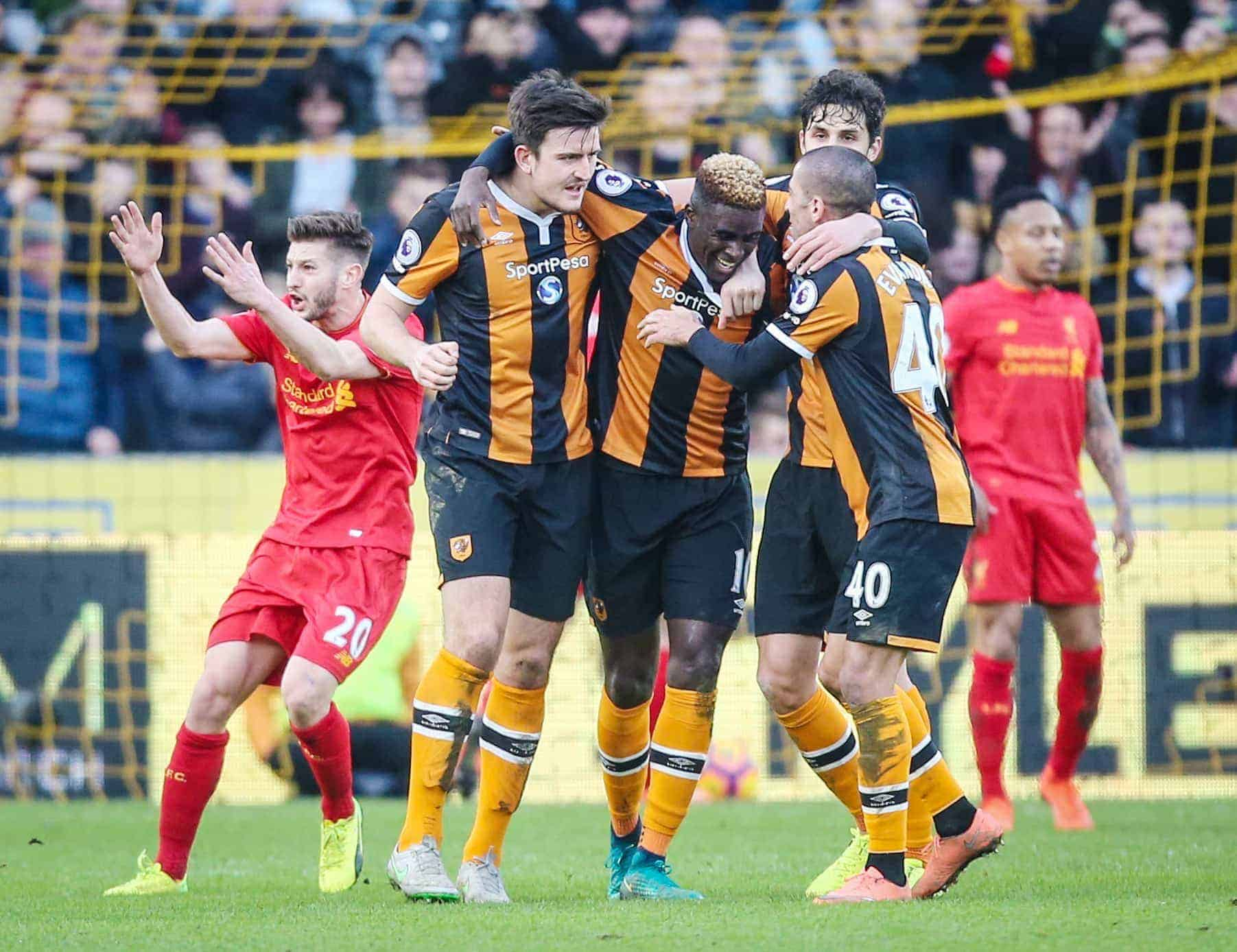 Hull City's Alfred N'Diaye (centre) celebrates scoring his side's first goal of the game during the Premier League match at the KCOM Stadium (Picture by Danny Lawson PA Wire/PA Images)