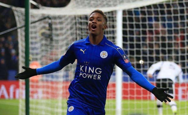 "Leicester City's Demarai Gray celebrates scoring his sides third goal during the Emirates FA Cup, Fourth Round Replay match at the King Power Stadium, Leicester. PRESS ASSOCIATION Photo. Picture date: Wednesday February 8, 2017. See PA story SOCCER Leicester. Photo credit should read: Nigel French/PA Wire. RESTRICTIONS: EDITORIAL USE ONLY No use with unauthorised audio, video, data, fixture lists, club/league logos or ""live"" services. Online in-match use limited to 75 images, no video emulation. No use in betting, games or single club/league/player publications."