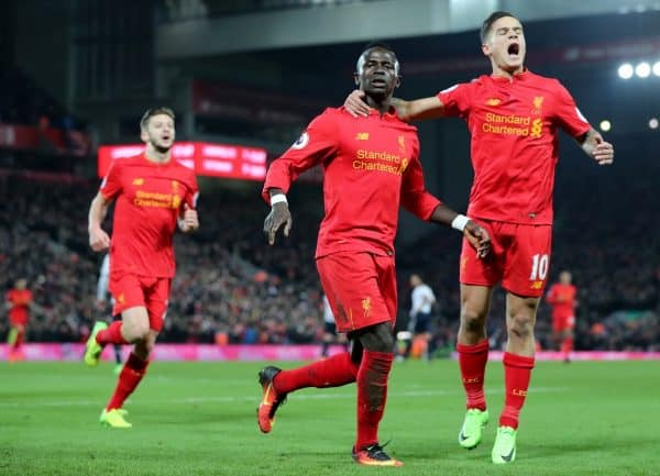 Liverpool's Sadio Mane celebrates scoring his side's second goal of the game during the Premier League match at Anfield, Liverpool. Saturday February 11, 2017. Photo: Peter Byrne/PA Wire.